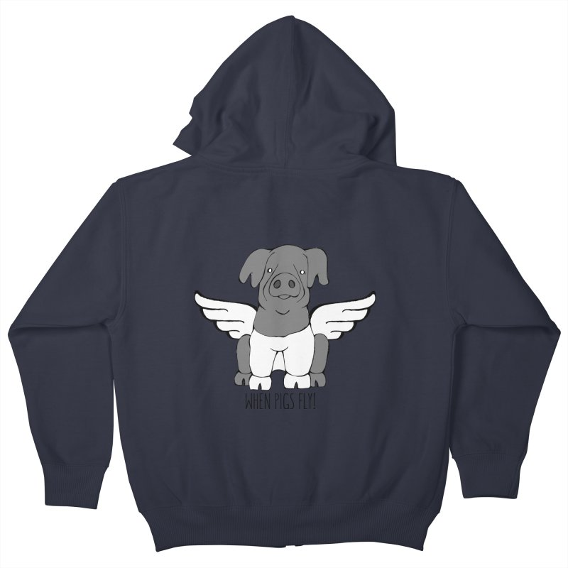 When Pigs Fly: Cinta Senese Kids Zip-Up Hoody by Angry Squirrel Studio