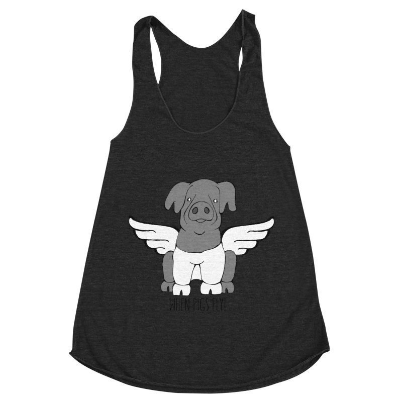 When Pigs Fly: Cinta Senese Women's Racerback Triblend Tank by Angry Squirrel Studio