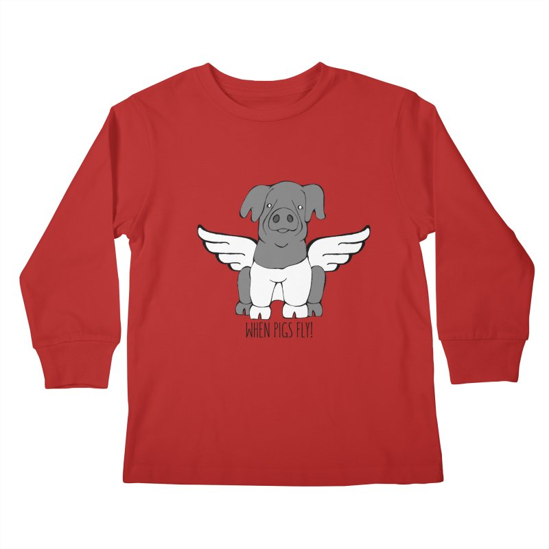 When Pigs Fly: Cinta Senese Kids Longsleeve T-Shirt by Angry Squirrel Studio