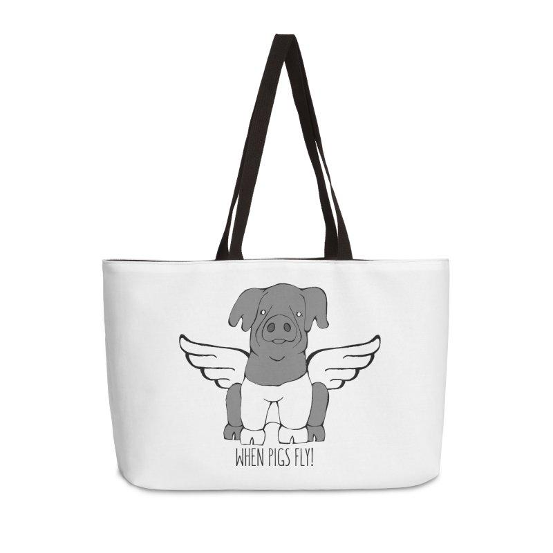 When Pigs Fly: Cinta Senese Accessories Weekender Bag Bag by Angry Squirrel Studio