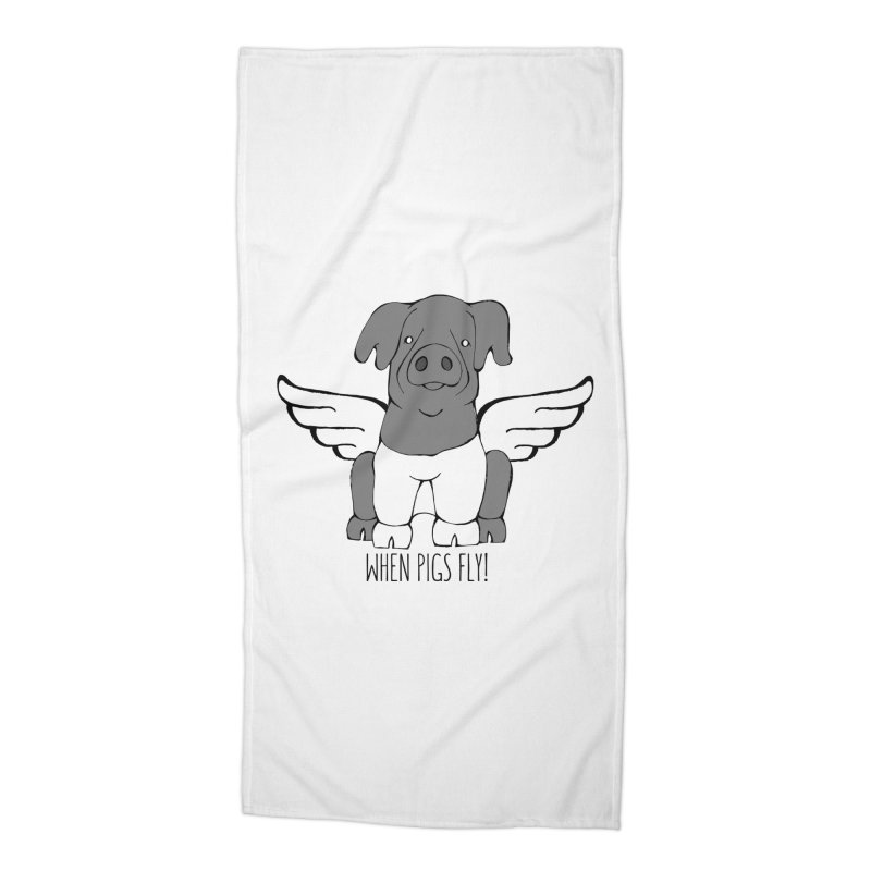 When Pigs Fly: Cinta Senese Accessories Beach Towel by Angry Squirrel Studio