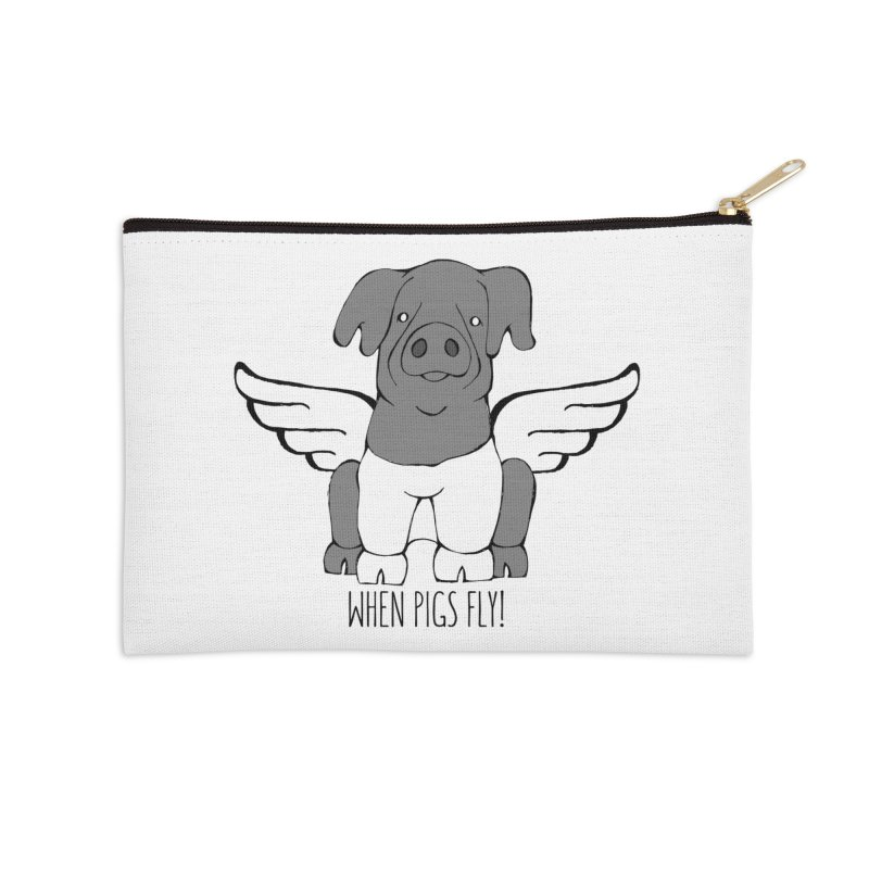 When Pigs Fly: Cinta Senese Accessories Zip Pouch by Angry Squirrel Studio