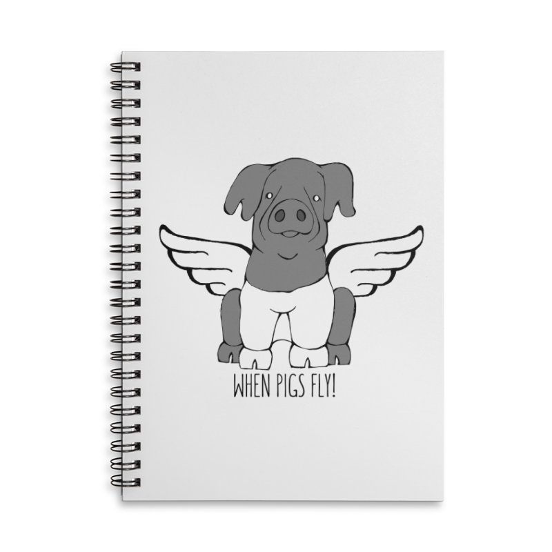 When Pigs Fly: Cinta Senese Accessories Lined Spiral Notebook by Angry Squirrel Studio