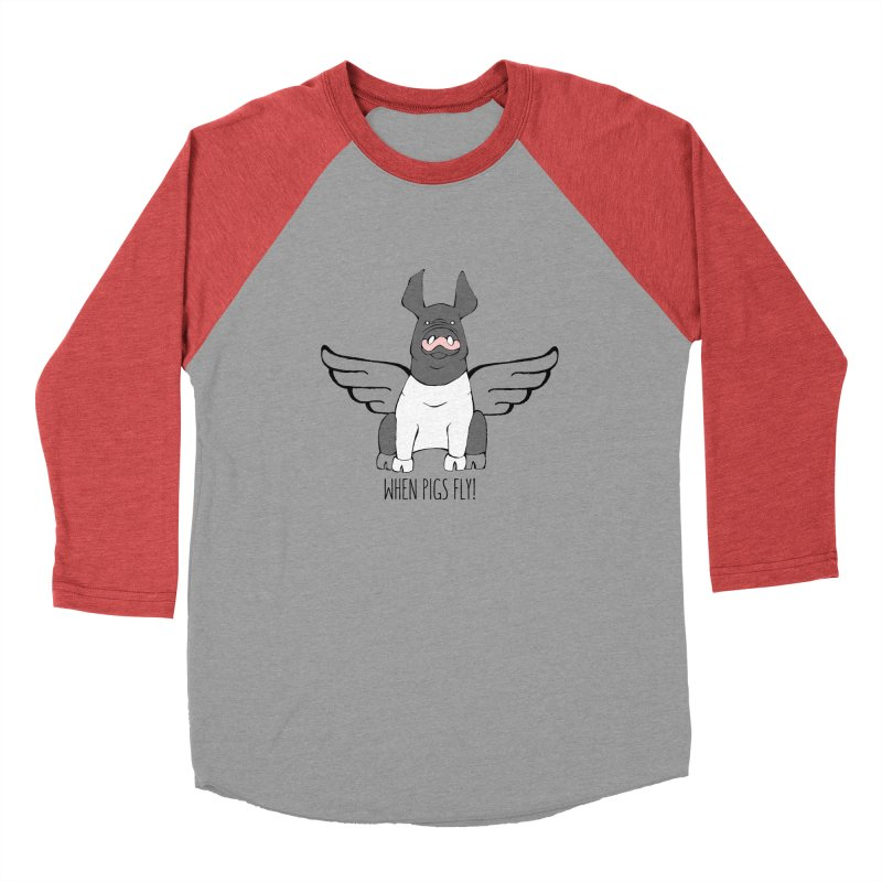 When Pigs Fly: Hampshire Women's Baseball Triblend Longsleeve T-Shirt by Angry Squirrel Studio