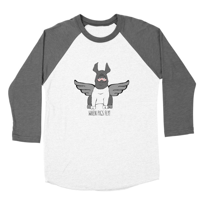 When Pigs Fly: Hampshire Men's Baseball Triblend Longsleeve T-Shirt by Angry Squirrel Studio