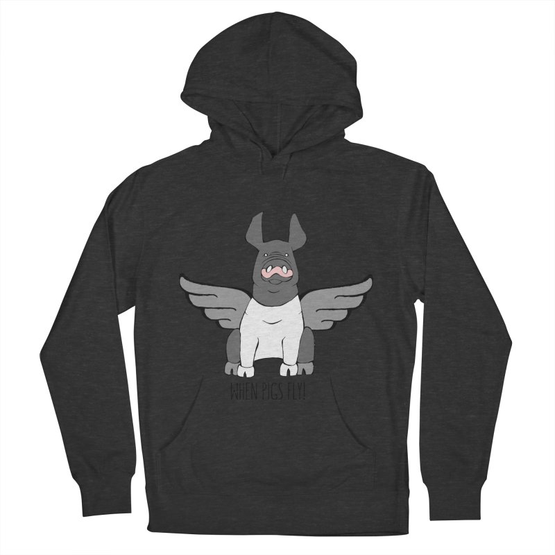 When Pigs Fly: Hampshire Men's French Terry Pullover Hoody by Angry Squirrel Studio
