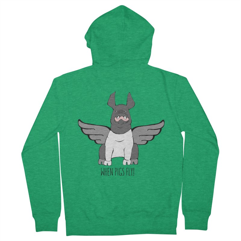 When Pigs Fly: Hampshire Men's French Terry Zip-Up Hoody by Angry Squirrel Studio