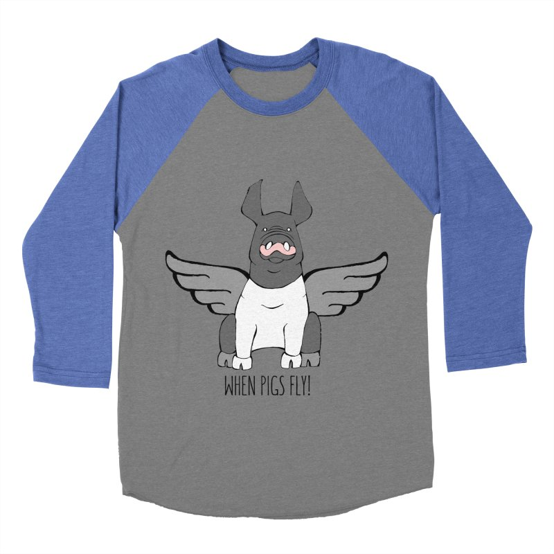 When Pigs Fly: Hampshire Women's Baseball Triblend T-Shirt by Angry Squirrel Studio