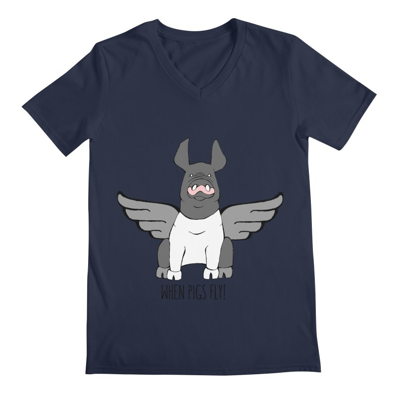 When Pigs Fly: Hampshire Men's Regular V-Neck by Angry Squirrel Studio
