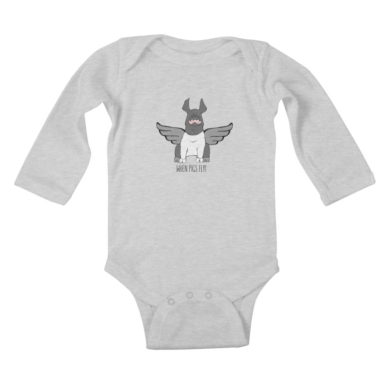 When Pigs Fly: Hampshire Kids Baby Longsleeve Bodysuit by Angry Squirrel Studio