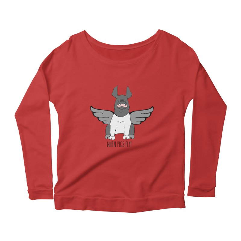 When Pigs Fly: Hampshire Women's Scoop Neck Longsleeve T-Shirt by Angry Squirrel Studio