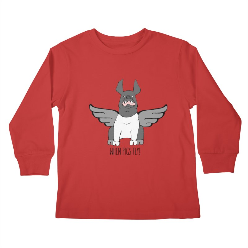 When Pigs Fly: Hampshire Kids Longsleeve T-Shirt by Angry Squirrel Studio