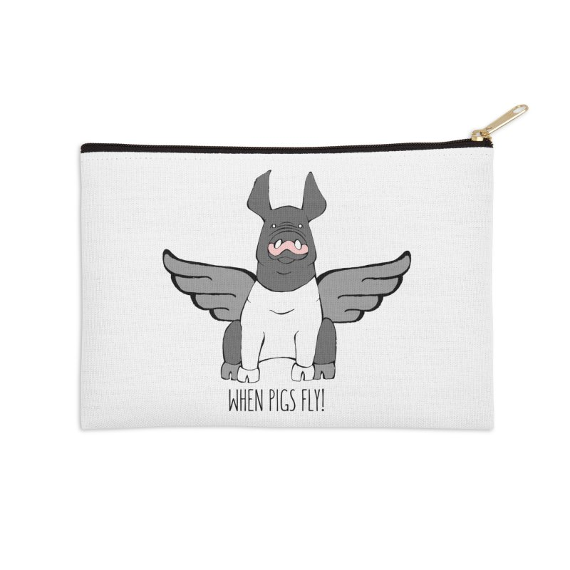 When Pigs Fly: Hampshire Accessories Zip Pouch by Angry Squirrel Studio