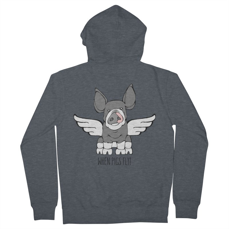 When Pigs Fly: Berkshire Men's French Terry Zip-Up Hoody by Angry Squirrel Studio