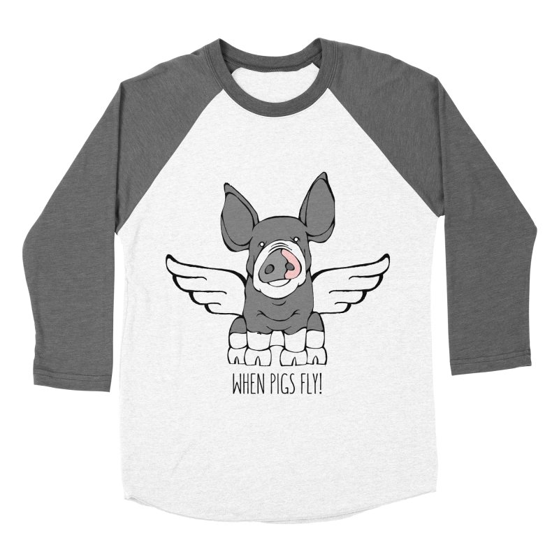 When Pigs Fly: Berkshire Women's Baseball Triblend T-Shirt by Angry Squirrel Studio
