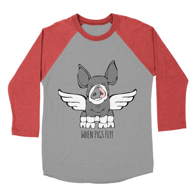 When Pigs Fly: Berkshire Men's Baseball Triblend T-Shirt by Angry Squirrel Studio