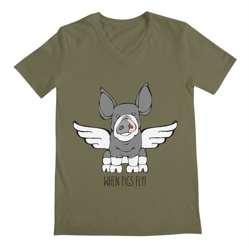 When Pigs Fly: Berkshire Men's V-Neck by Angry Squirrel Studio