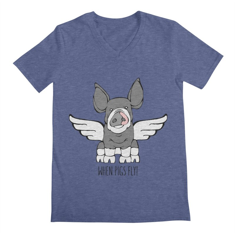 When Pigs Fly: Berkshire Men's Regular V-Neck by Angry Squirrel Studio