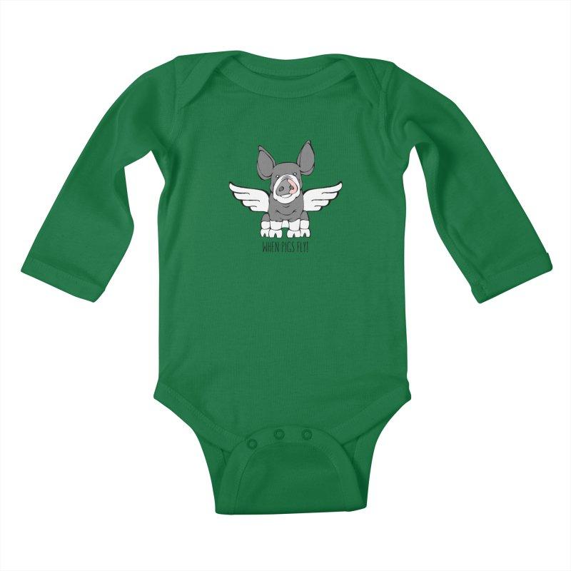 When Pigs Fly: Berkshire Kids Baby Longsleeve Bodysuit by Angry Squirrel Studio