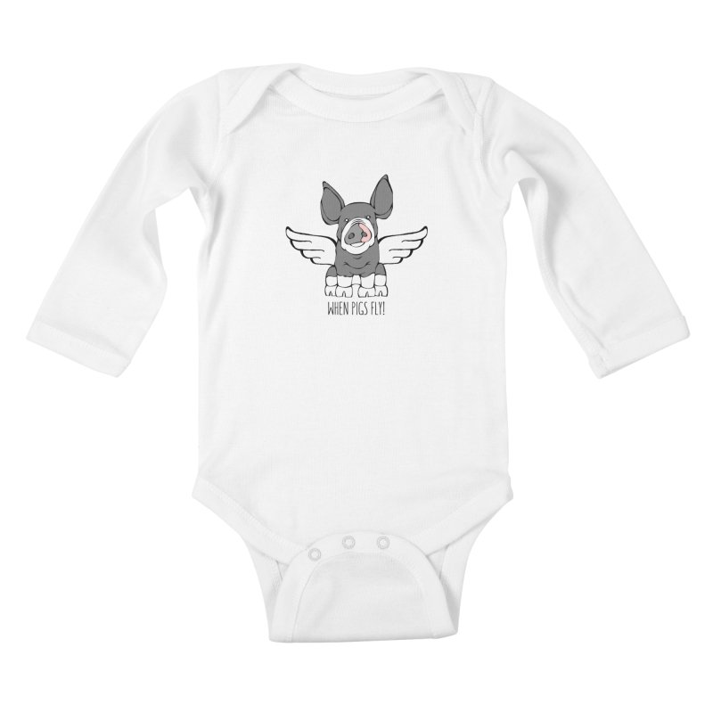 When Pigs Fly: Berkshire Kids Baby Longsleeve Bodysuit by Angry Squirrel Studio