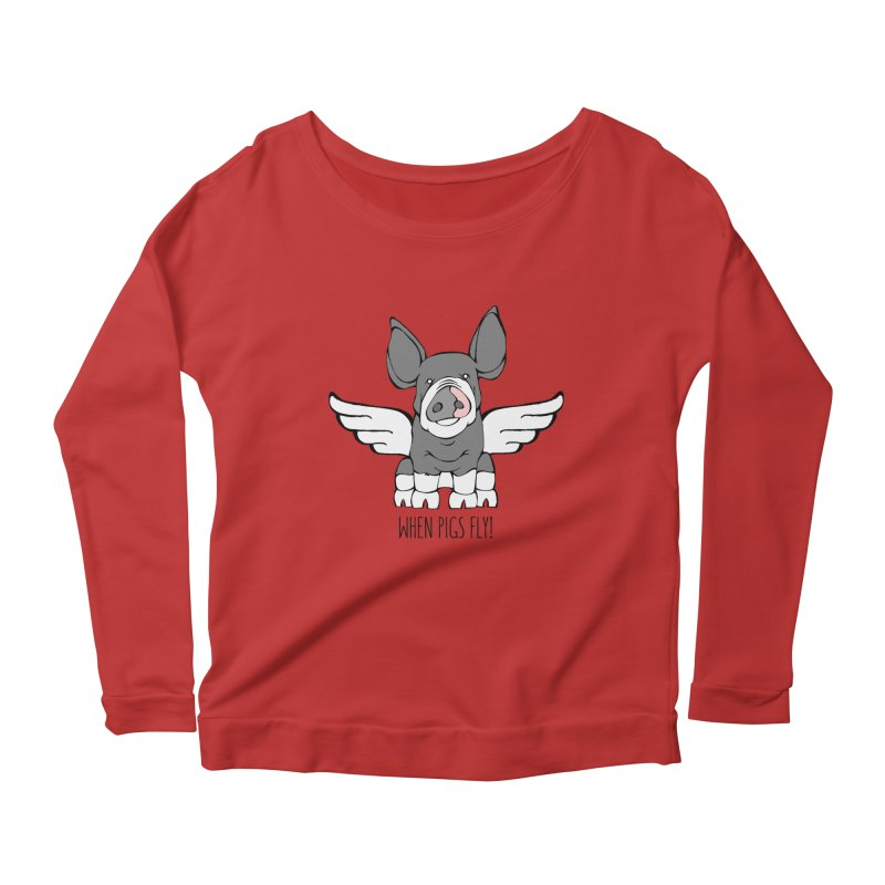 When Pigs Fly: Berkshire Women's Longsleeve Scoopneck  by Angry Squirrel Studio