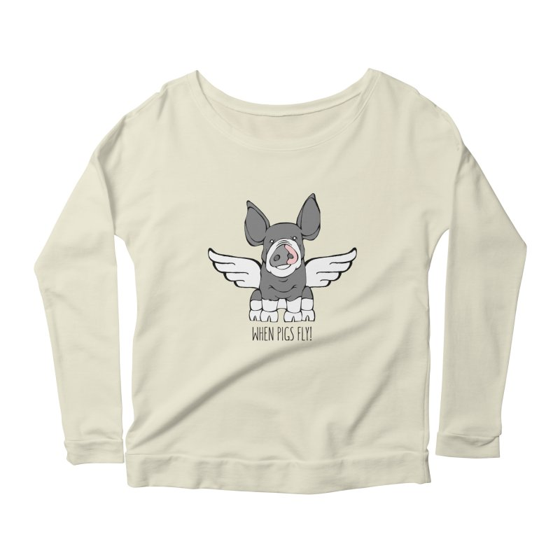 When Pigs Fly: Berkshire Women's Scoop Neck Longsleeve T-Shirt by Angry Squirrel Studio