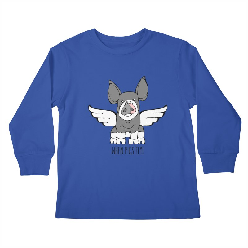 When Pigs Fly: Berkshire Kids Longsleeve T-Shirt by Angry Squirrel Studio