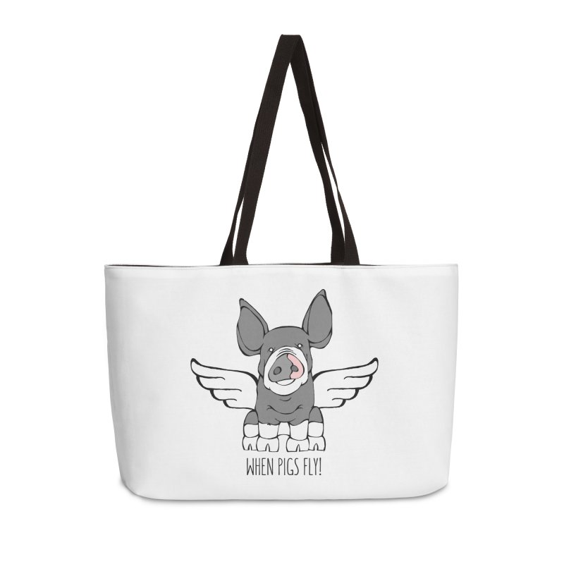 When Pigs Fly: Berkshire Accessories Weekender Bag Bag by Angry Squirrel Studio