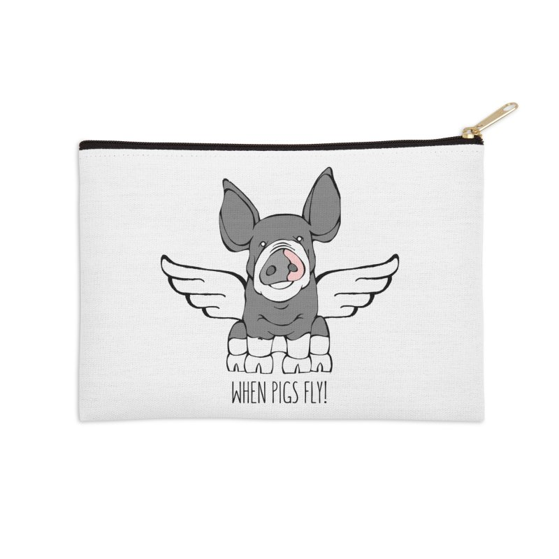 When Pigs Fly: Berkshire Accessories Zip Pouch by Angry Squirrel Studio