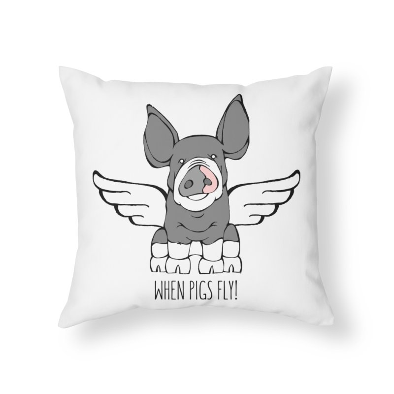 When Pigs Fly: Berkshire Home Throw Pillow by Angry Squirrel Studio