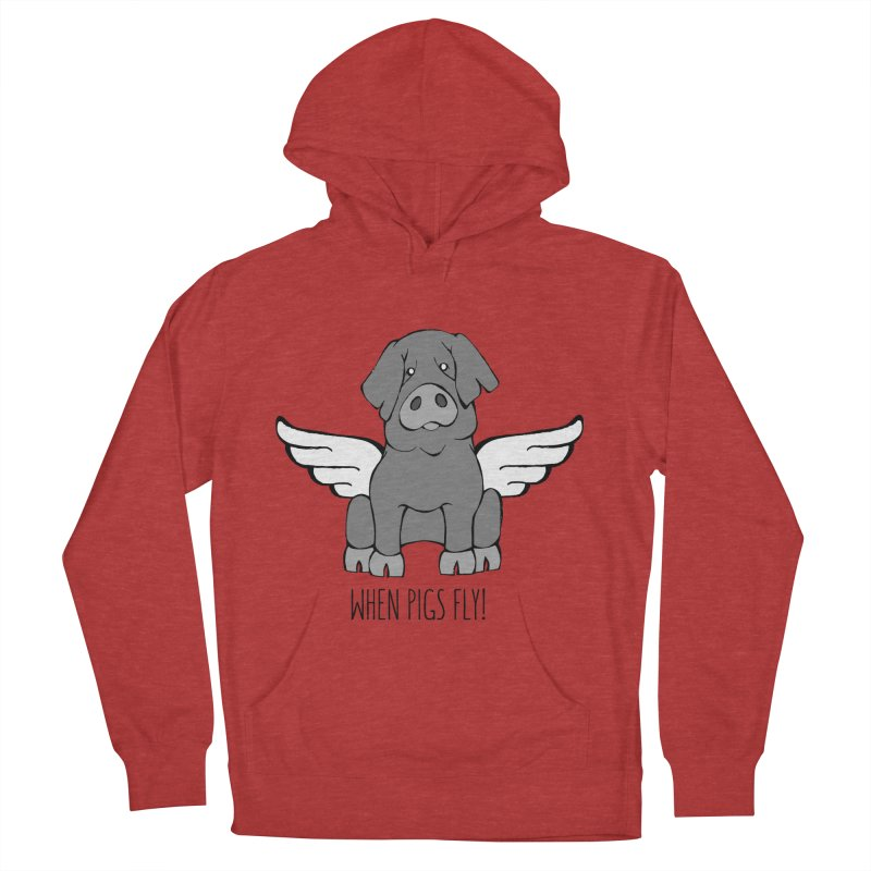 When Pigs Fly: Iberico Men's French Terry Pullover Hoody by Angry Squirrel Studio