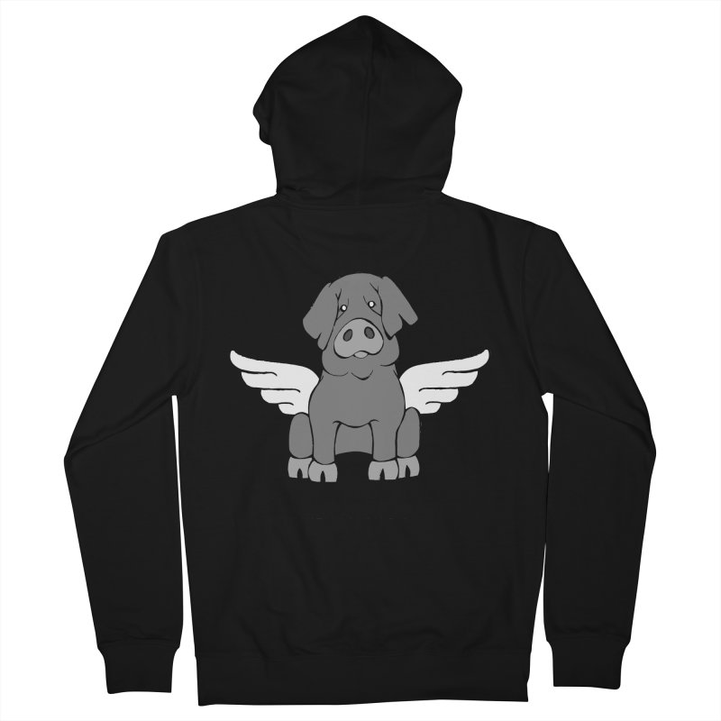 When Pigs Fly: Iberico Men's French Terry Zip-Up Hoody by Angry Squirrel Studio