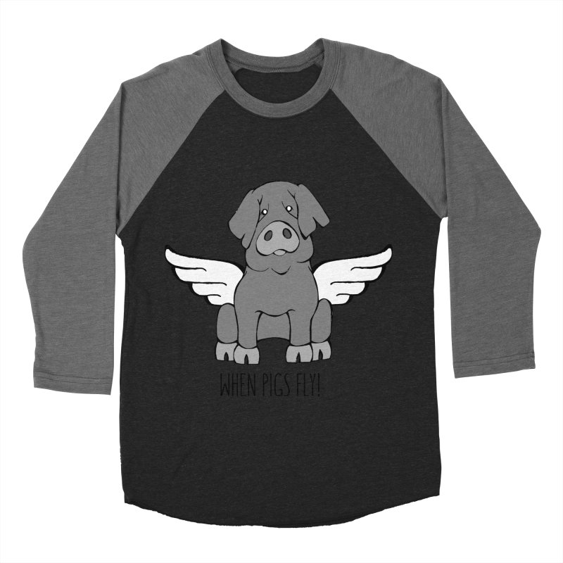 When Pigs Fly: Iberico Men's Baseball Triblend T-Shirt by Angry Squirrel Studio
