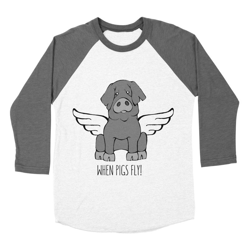 When Pigs Fly: Iberico Men's Baseball Triblend Longsleeve T-Shirt by Angry Squirrel Studio