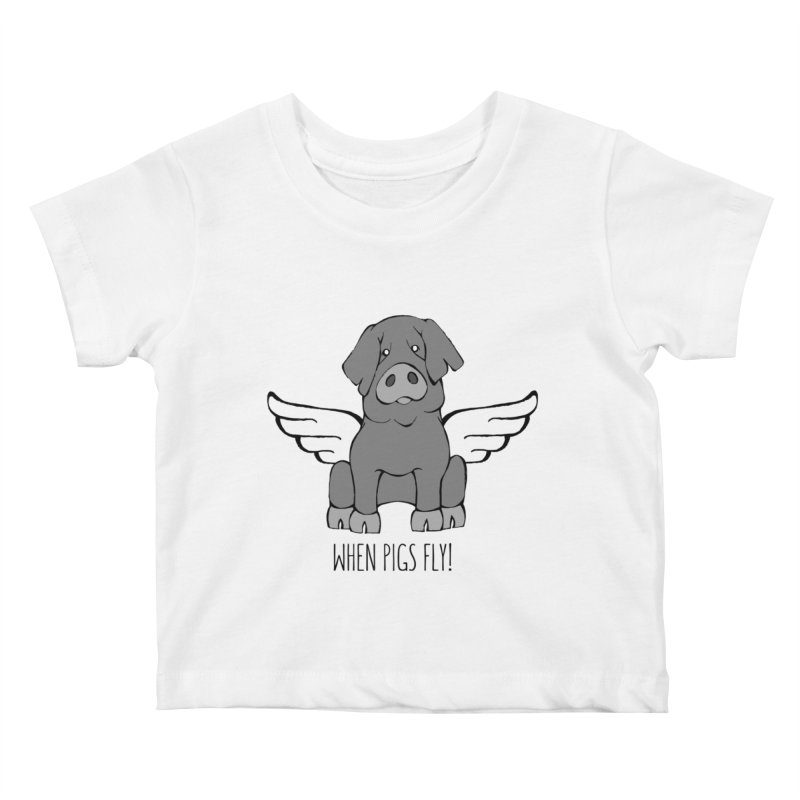 When Pigs Fly: Iberico Kids Baby T-Shirt by Angry Squirrel Studio