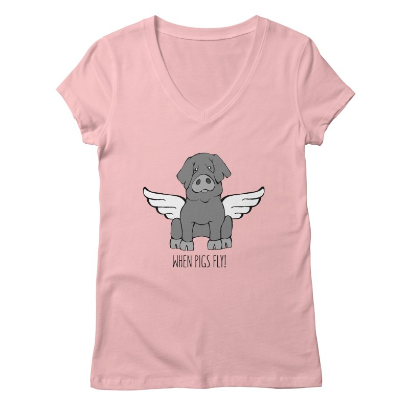 When Pigs Fly: Iberico Women's V-Neck by Angry Squirrel Studio
