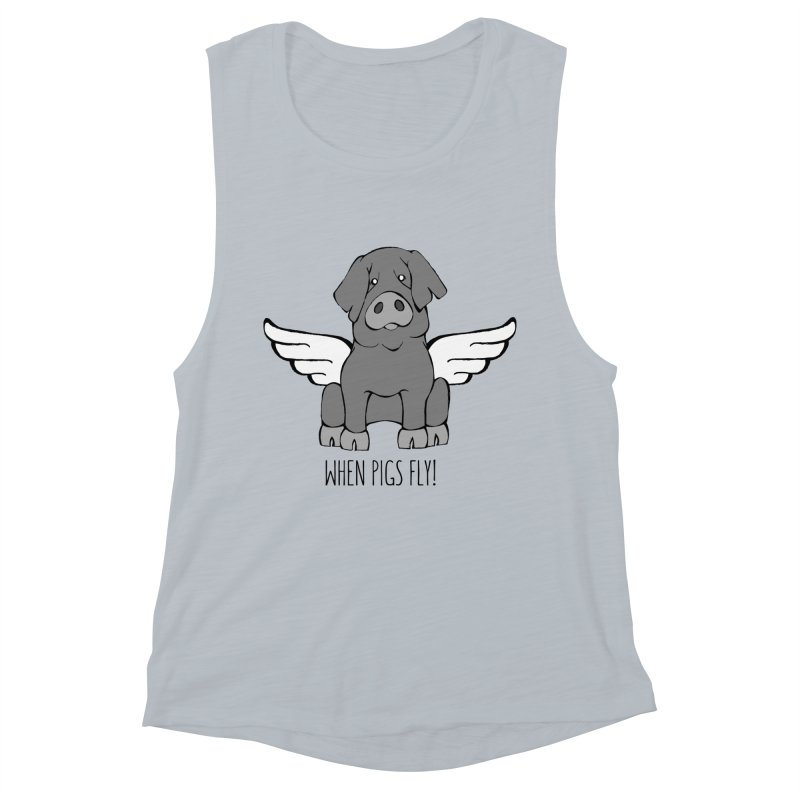 When Pigs Fly: Iberico Women's Muscle Tank by Angry Squirrel Studio