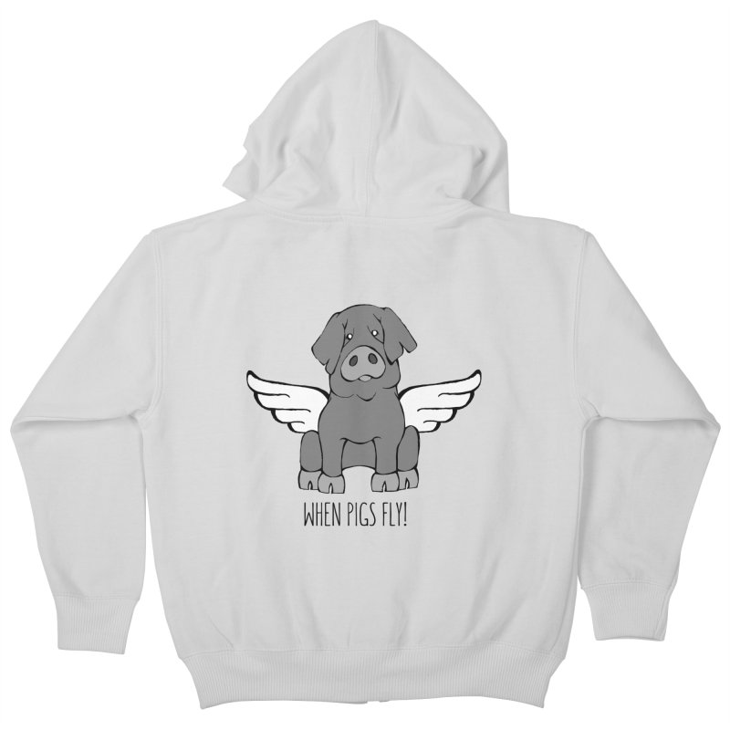 When Pigs Fly: Iberico Kids Zip-Up Hoody by Angry Squirrel Studio