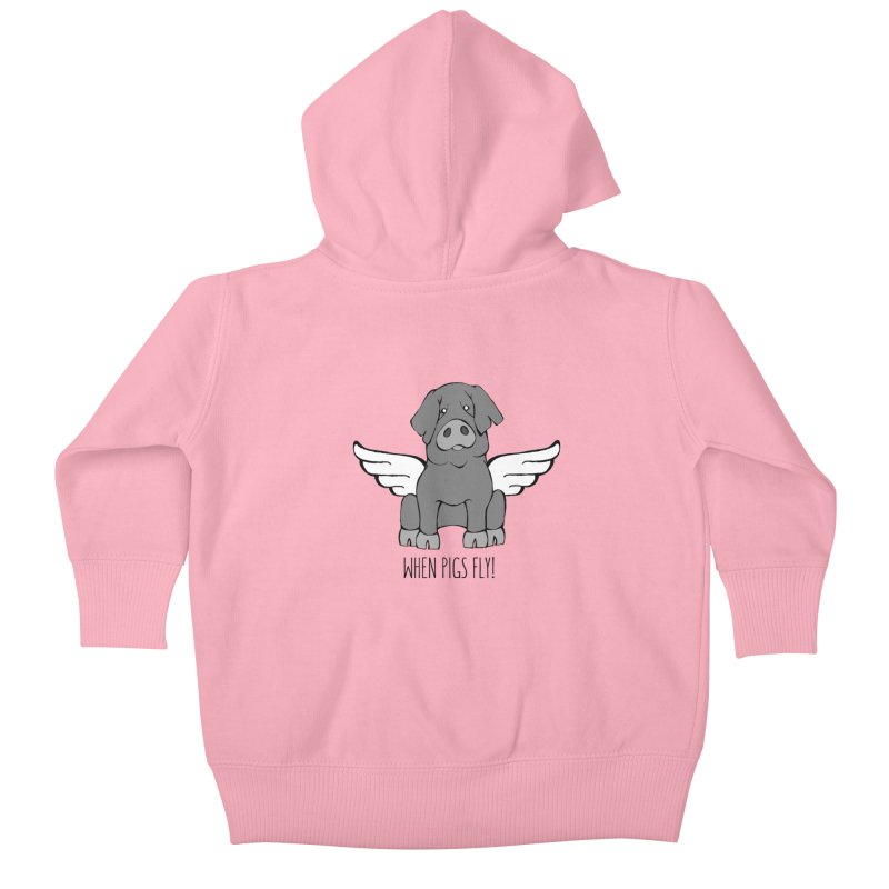 When Pigs Fly: Iberico Kids Baby Zip-Up Hoody by Angry Squirrel Studio