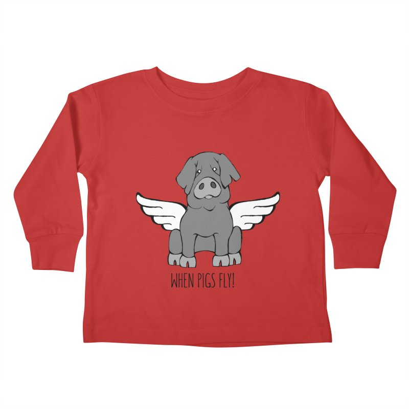 When Pigs Fly: Iberico Kids Toddler Longsleeve T-Shirt by Angry Squirrel Studio