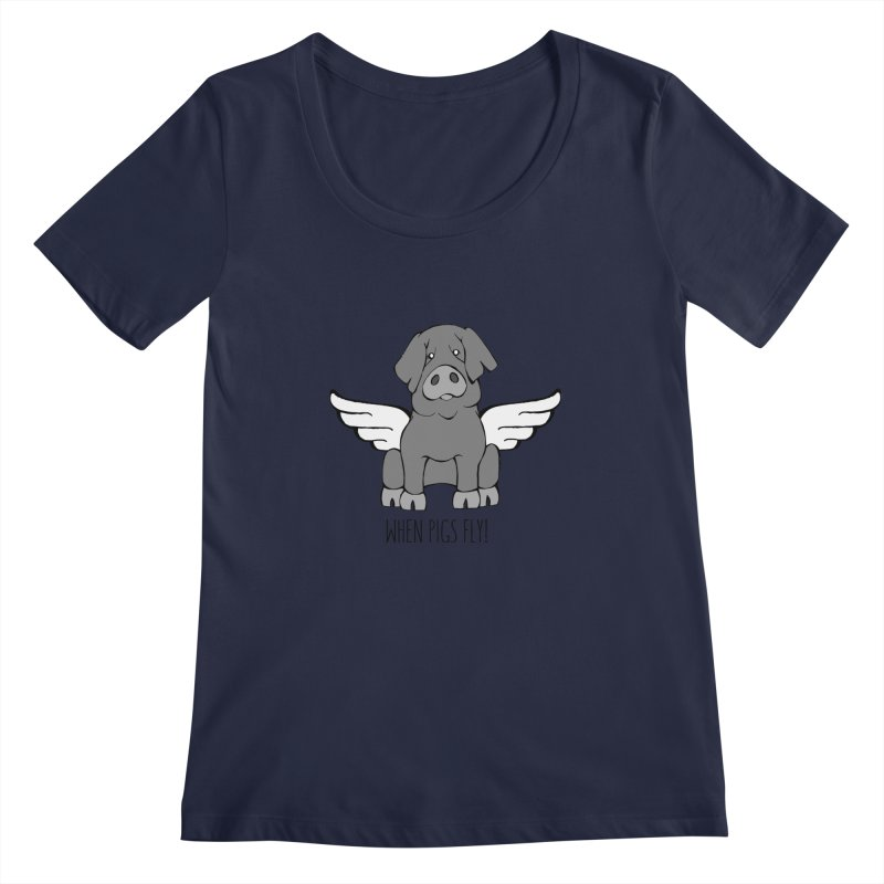 When Pigs Fly: Iberico Women's Regular Scoop Neck by Angry Squirrel Studio