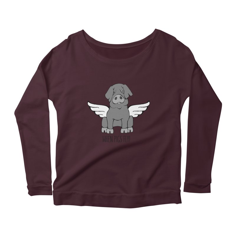 When Pigs Fly: Iberico Women's Scoop Neck Longsleeve T-Shirt by Angry Squirrel Studio