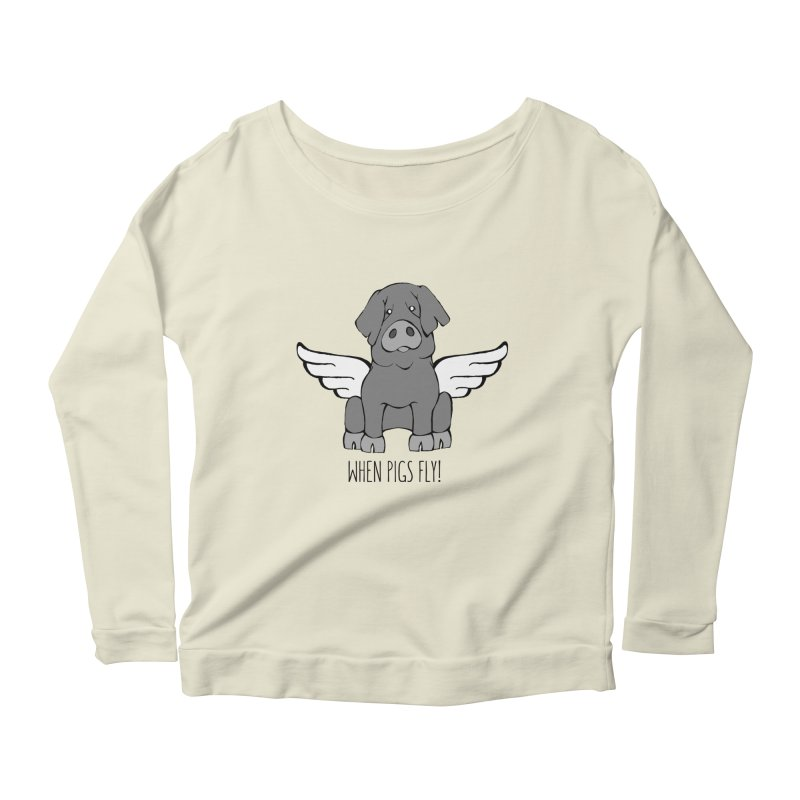 When Pigs Fly: Iberico Women's Longsleeve Scoopneck  by Angry Squirrel Studio