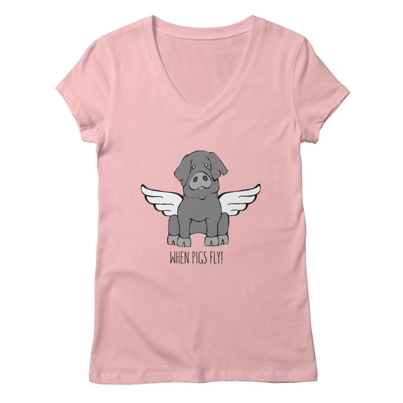 When Pigs Fly: Iberico Women's Regular V-Neck by Angry Squirrel Studio
