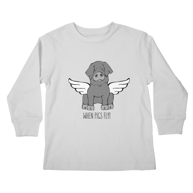 When Pigs Fly: Iberico Kids Longsleeve T-Shirt by Angry Squirrel Studio