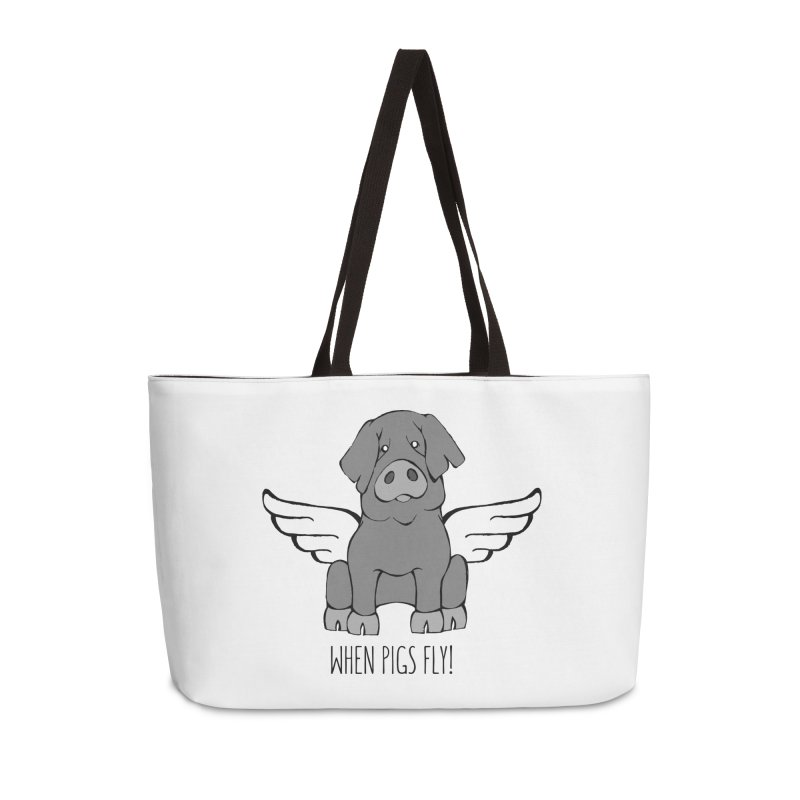 When Pigs Fly: Iberico Accessories Weekender Bag Bag by Angry Squirrel Studio
