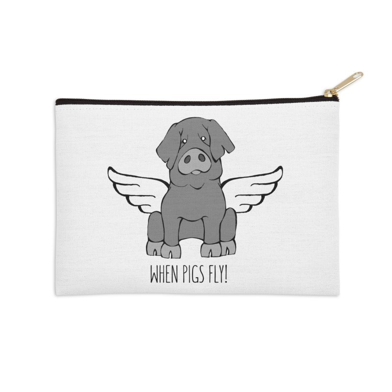 When Pigs Fly: Iberico Accessories Zip Pouch by Angry Squirrel Studio