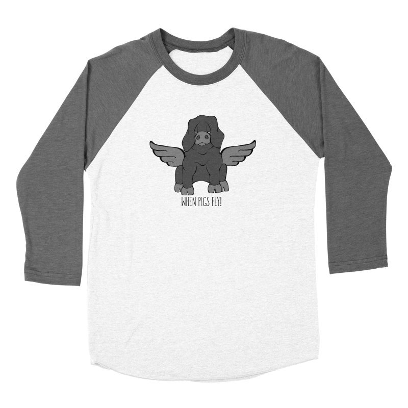 When Pigs Fly: Large Black Men's Baseball Triblend Longsleeve T-Shirt by Angry Squirrel Studio