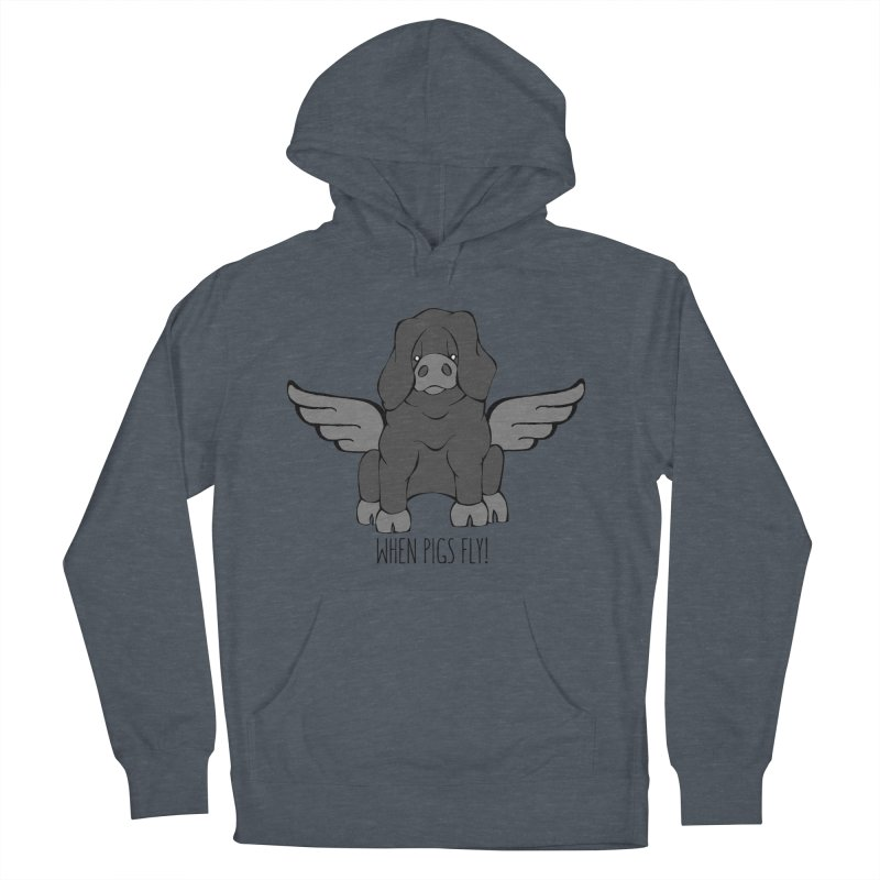 When Pigs Fly: Large Black Women's Pullover Hoody by Angry Squirrel Studio