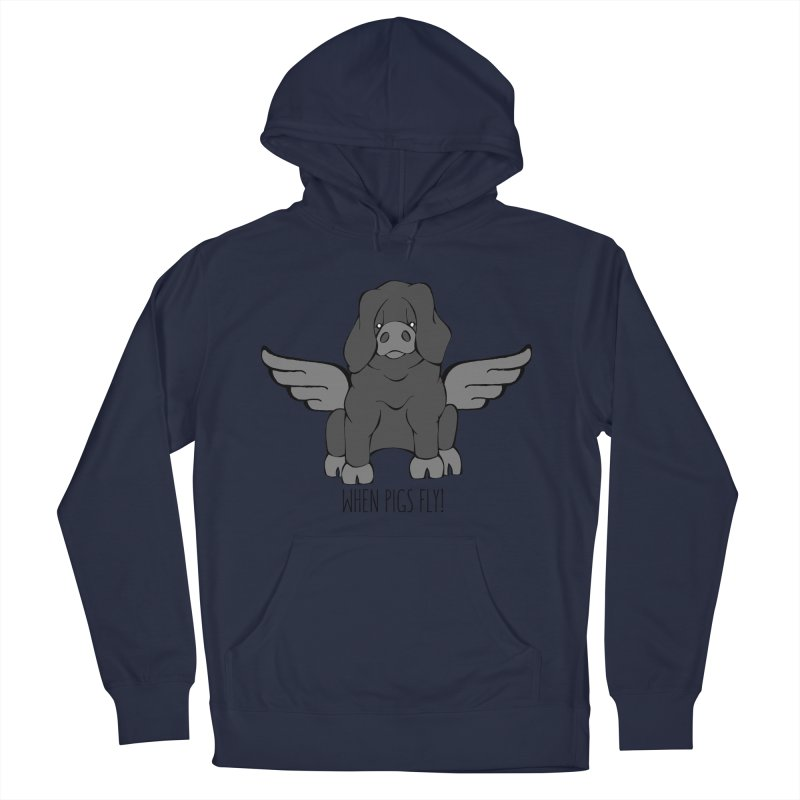 When Pigs Fly: Large Black Women's French Terry Pullover Hoody by Angry Squirrel Studio